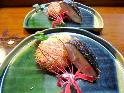 椎茸と里芋の三輪そうめん揚げ