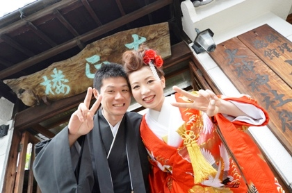 大神神社の結婚式ロケーション撮影 大正楼玄関