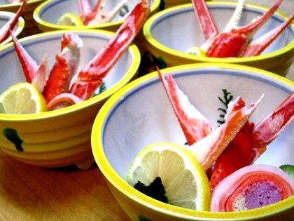 蟹の酢の物 三輪そうめんの砧巻き