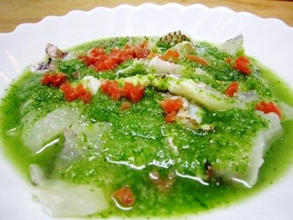 鯛の焼き霜造り 緑酢掛け