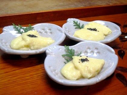 玉蜀黍と玉葱のピューレ葛豆腐