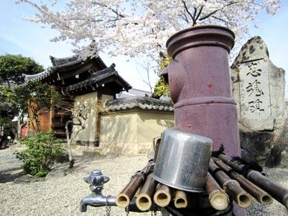 飛鳥寺のポストと桜