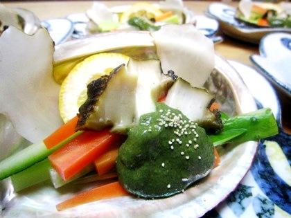 鮑の酒蒸し 菊芋