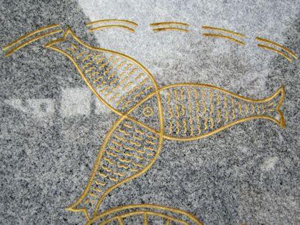 仏足石の魚