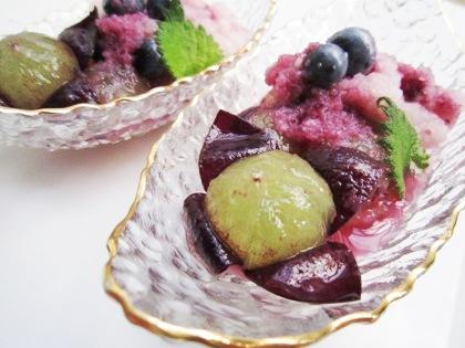 葡萄とブルーベリーのおろし酢和え