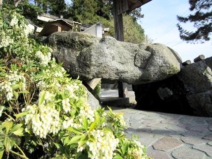 飛鳥坐神社の手水舎と馬酔木