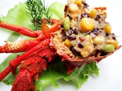 伊勢海老の古代米サラダ バジル風味