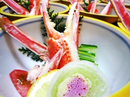 キーウィの砧巻き 蟹の酢の物