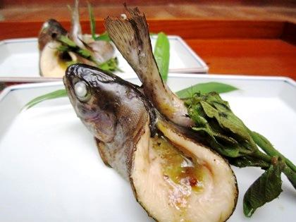 ニジマスの山椒味噌焼き