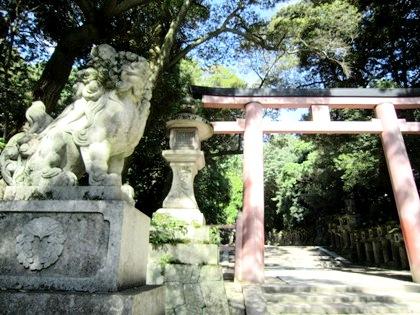 春日大社の狛犬 鳥居 神紋の下がり藤